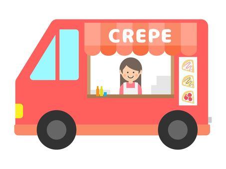 Crepe shop kitchen car mobile shopping cart illustration