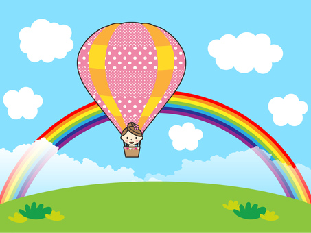 A balloon in the sky of the rainbow