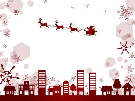 クリスマスイメージ背景街並赤