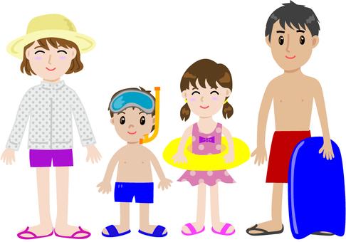 Family enjoying swimming and pool