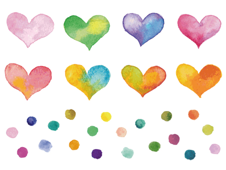 Watercolor heart and polka dots-2