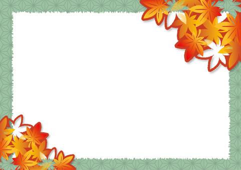 紅葉の切り絵風フレーム_B01