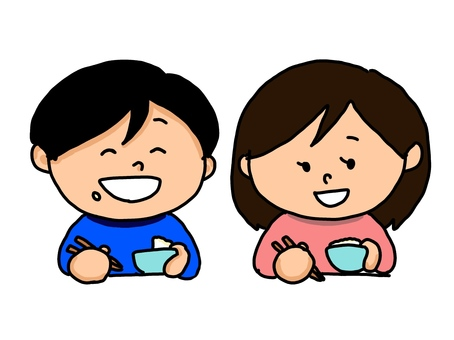 Girl and boy eating rice