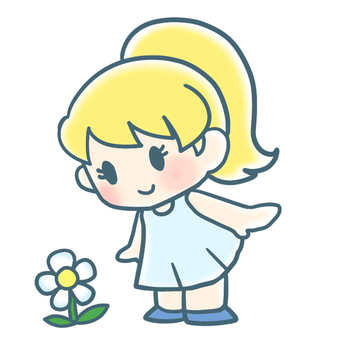 A girl who found a flower of a wheel