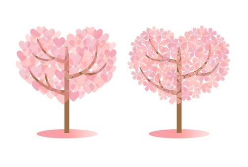 Heart type tree 2 kinds (pink)