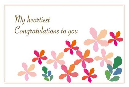 Pink Flower Pattern Alphabet Congratulations Message Card