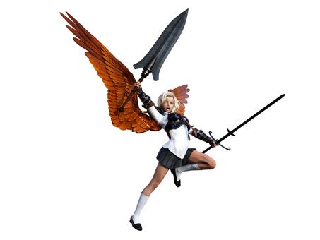 ファンタジー学園の戦う金髪女子高生天使