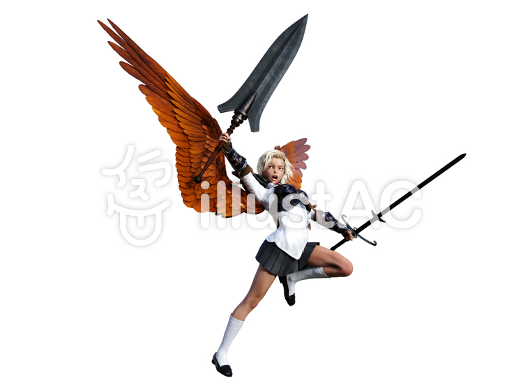 ファンタジー学園の戦う金髪女子高生天使のイラスト