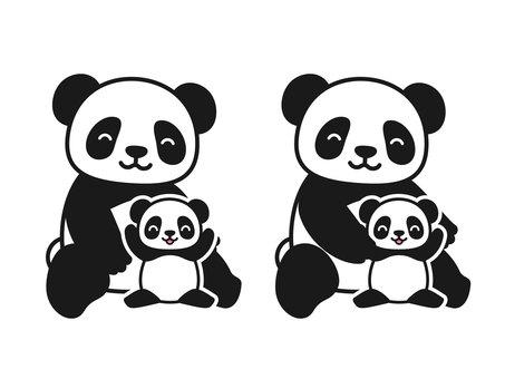 Panda parent and child