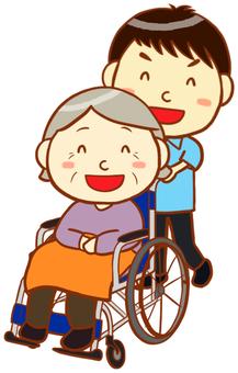 간병인과 휠체어