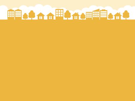 街 街並み シルエット 黄色 フレーム