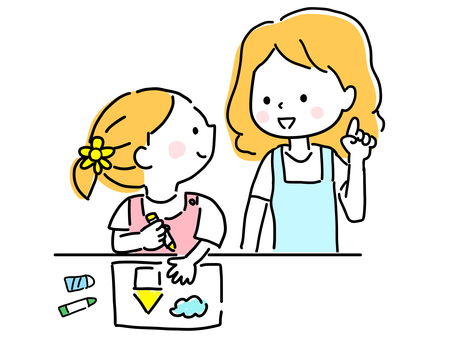 Children and moms drawing