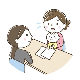 育児相談する女性/お母さん/赤ちゃん