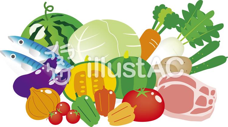 ぴちぴち野菜と肉と魚イラスト No 44951無料イラストならイラストac