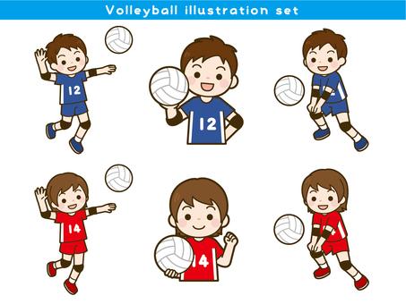 Volleyball illustration set