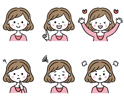 Hand-painted cute female facial expression set