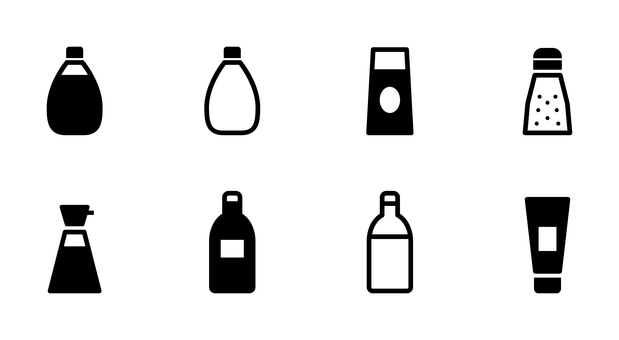 蛋黃醬,醬油,調味料圖標集