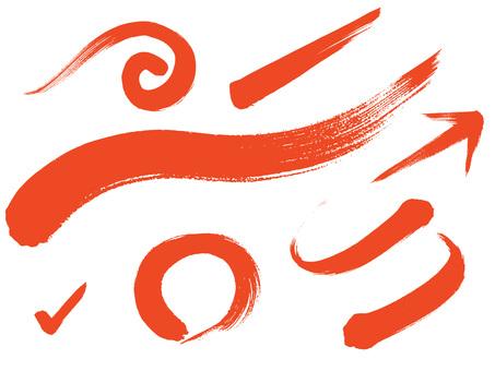 毛筆のグラフィックセット 赤