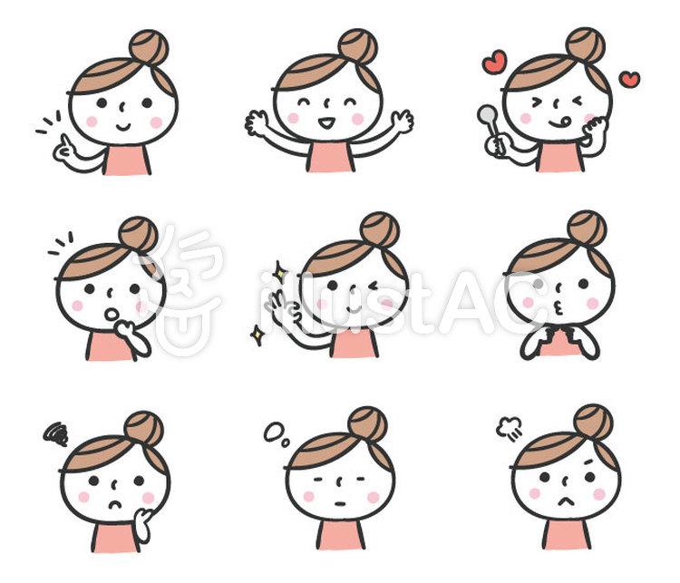 かわいい手描きの人物女性表情セットイラスト No 無料イラストなら イラストac