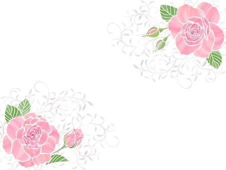 ピンクのバラとリーフ柄