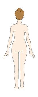 Female - naked - whole body - behind