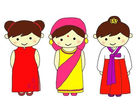 National costume China, India, Korea