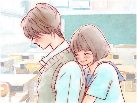 Hug from behind (classroom)