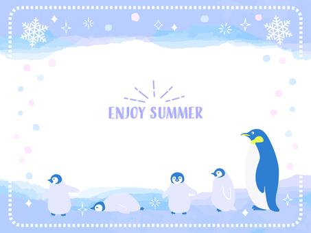 Summer watercolor penguin frame 2