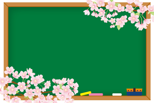 Blackboard and cherry background 02