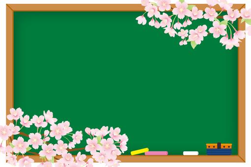 칠판과 벚꽃 배경 02