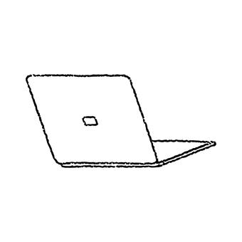手繪風格,單色,筆記本電腦,後部