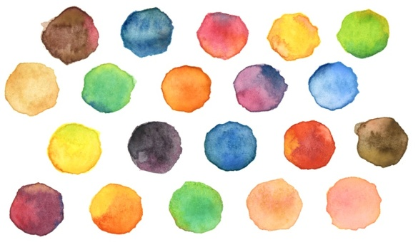 Watercolor colorful polka dots