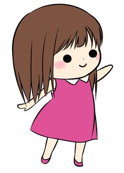 女孩(粉紅色:站立)