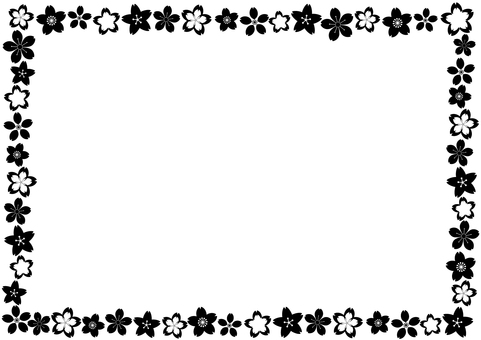 Black and white cherry petal frame framework - cute Japanese style pattern