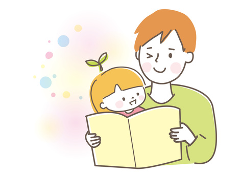 Parents and children reading picture books Father and girl