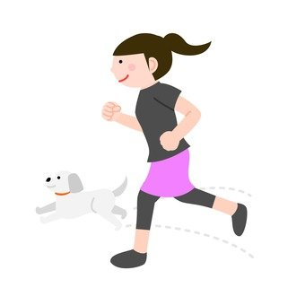 A woman who runs with a dog