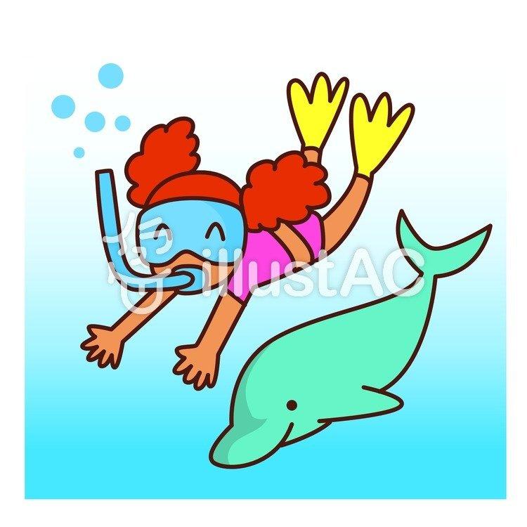 イルカと泳ぐイラスト No 648076無料イラストならイラストac