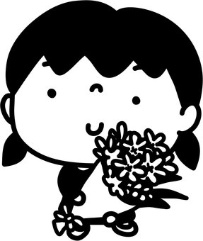 Girl and bouquet 2_ black and white