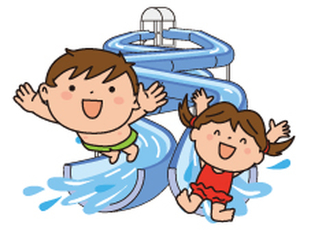 Water slider and child