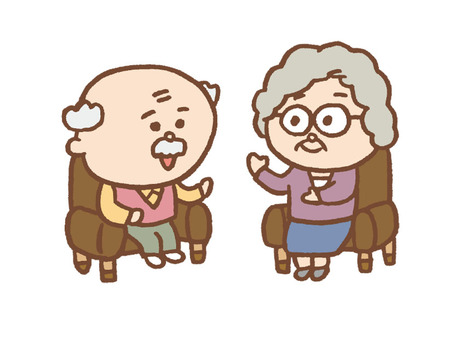 Elderly couple discussing