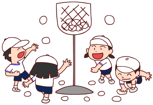 Illustration of a sports day ball competition