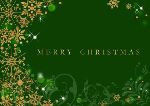 クリスマス_金_グリーン背景2309
