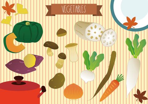 A variety of autumn vegetables set