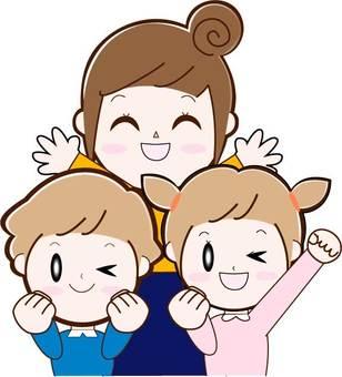 父母與子女3名母親(2名子女)