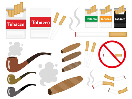 Illustration set of cigarettes