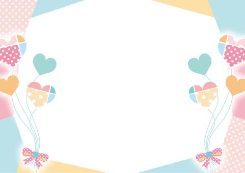 Heart balloon frame _ pastel