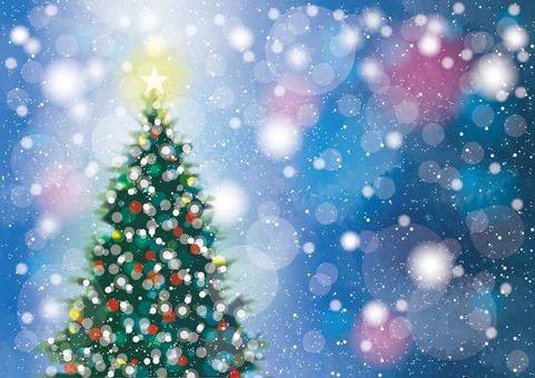 クリスマスツリーと雪1横 青