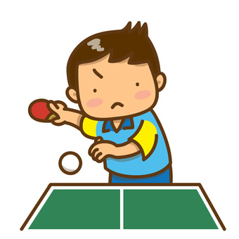 Boys playing table tennis (with table tennis table)