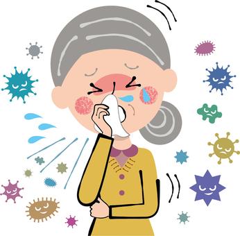 Cold flu rhinitis coughing grandmother