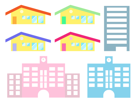 House, building and school icon set